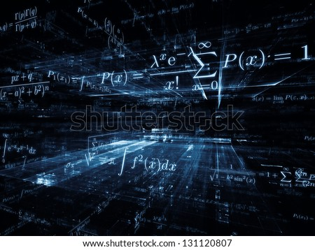 Mathematical Formula series. Graphic composition of mathematical formulas and design elements in perspective to serve as complimentary design for subject of business, science, education and technology