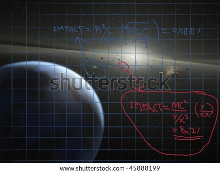 Mathematical formula to calculate meteor impact