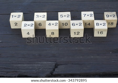 Mathematical formula 1x2 cube in wooden background (Soft focus, shallow DOF, slight motion blur) - stock photo