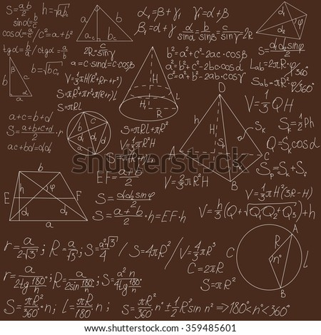 mathematical formulas on a brown blackboard - stock photo