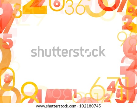 Mathematical frame with random color numbers - stock photo