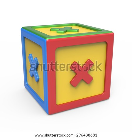 Mathematical multiplication sign toy block