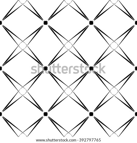 Mathematical pattern. The complex geometric pattern. Seamless pattern of thin lines. Black and white monochrome ornament.
