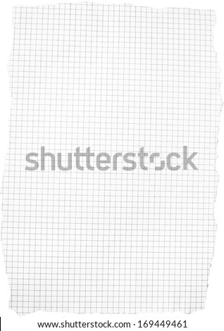 Mathematical sqare scrap paper isolated in white background. - stock photo