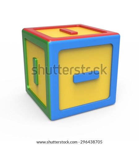 Mathematical subtraction sign mark toy block - stock photo