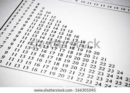 Mathematical tables in university textbook. Math education concept. - stock photo