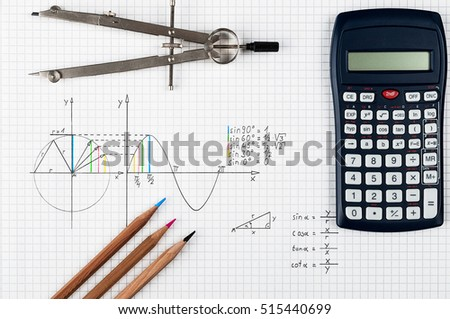Mathematics background - sine function - calculator, compass and coloring pencils