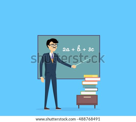 Mathematics concept . Flat design. Teacher character with pointer at blackboard with mathematical equations and stack of books below. Illustration for university, tutoring, courses ad.