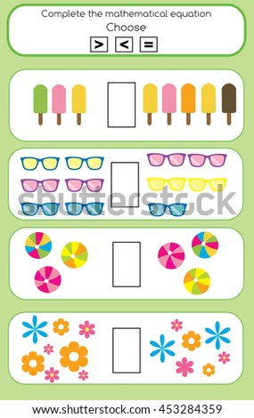 Mathematics educational game for children. Learning counting and algebra task for kids. Complete the mathematical equation task, choose more, less or equal - stock photo