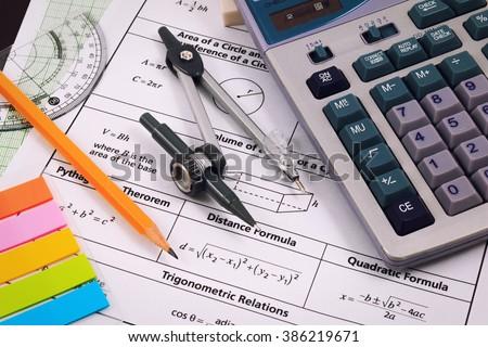 Mathematics, Equations close-up. Homework. Solving Mathematical Problem. - stock photo