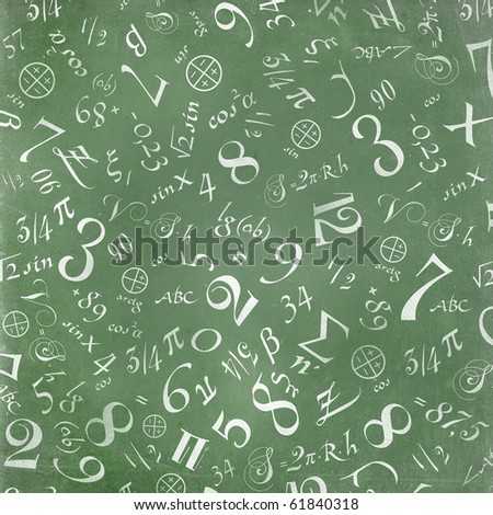 mathematics formulas abstract background (on green chalkboard) - stock photo