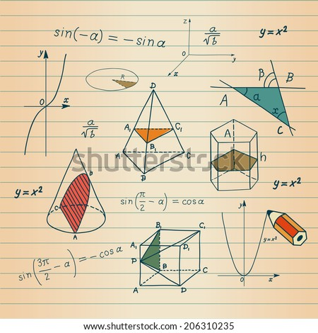 Mathematics - geometric shapes and expressions sketches  - stock photo