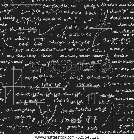 Mathematics seamless pattern with different signs, figures and formulas. Back to school seamless scientific background.