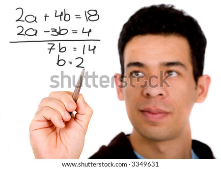mathematics student solving a problem on the screen - isolated over a white background - stock photo