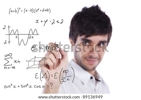 mathematics teacher writing formulas on the whiteboard (selective focus) - stock photo