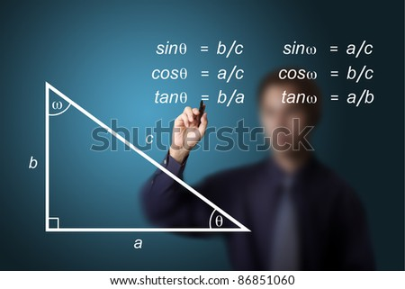 mathematics teacher writing geometry picture and trigonometry calculation equation - stock photo