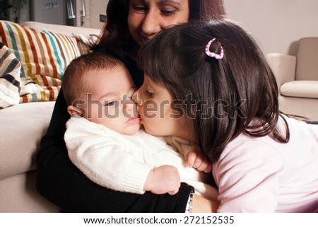 Mather and children - stock photo