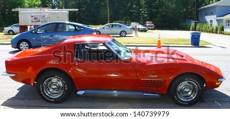 "MATHEWS, VA- JUNE 01:Chevy Corvette Stingray in the Annual: Vintage TV's ""Chasing Pavement Vintage Automotive Festival"" in Mathews, Virginia on June 01, 2013 - stock photo"