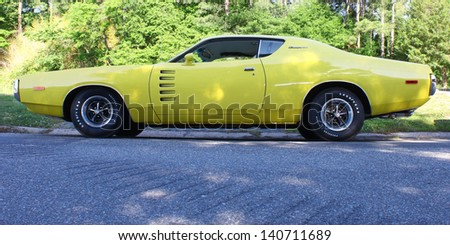 """MATHEWS, VA- JUNE 01:Dodge Charger in the Annual: Vintage TV's """"Chasing Pavement Vintage Automotive Festival"""" in Mathews, Virginia on June 01, 2013 - stock photo"""