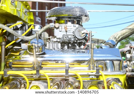 "MATHEWS, VA- JUNE 01:1929 Ford Streetrod engine in the Annual: Vintage TV's ""Chasing Pavement Vintage Automotive Festival"" in Mathews, Virginia on June 01, 2013 - stock photo"