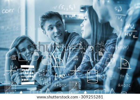 Maths against smiling friends students talking together - stock photo