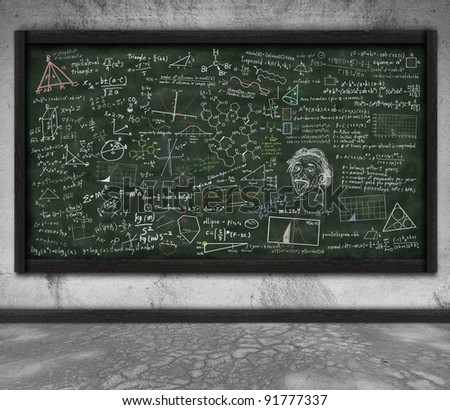 maths and science formula on chalkboard in classroom - stock photo