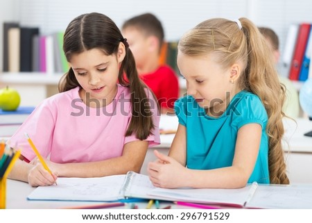 Maths, child, classroom. - stock photo