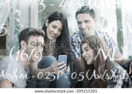 Maths equation against happy students looking at smartphone outside on campus - stock photo