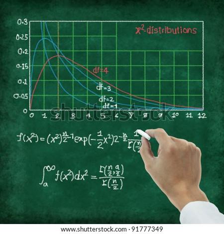 maths formula on chalkboard ,X2 distributions - stock photo