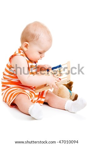 Maths lesson for a cute baby, isolated - stock photo