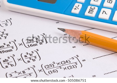 Maths quadratic equation concepts school supplies stock photo maths quadratic equation concepts school supplies used in maths maths drawing tools with maths ccuart Gallery