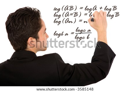 maths teacher writing a mathematical formula on the board - isolated over a white background - stock photo