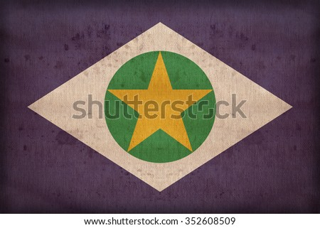 Mato Grosso flag pattern on fabric texture,retro vintage style