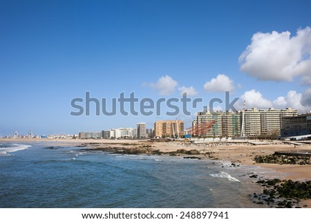 Matosinhos in Portugal, city skyline and beach by the Atlantic Ocean.