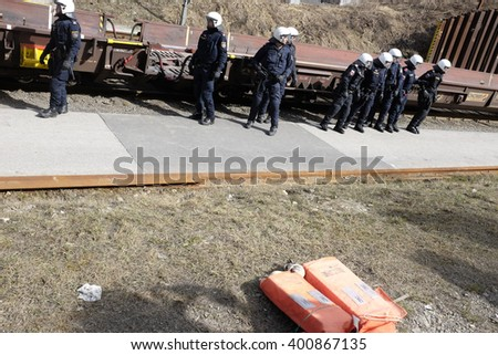 MATREI AM BRENNER, AUSTRIA - 03 APRIL 2016: The Italian/Austrian border after the Austrian government's decision to send the army to patrol the Brenner border and to stop the passage of migrants.