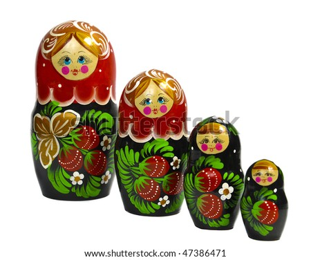 Matreshka line izolated set on the white background - stock photo