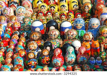 Matreshkas background - stock photo