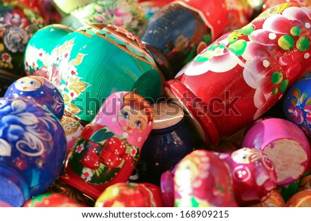 Matrioshkas in the crafts market next to Red Square, Moscow, Russia - stock photo