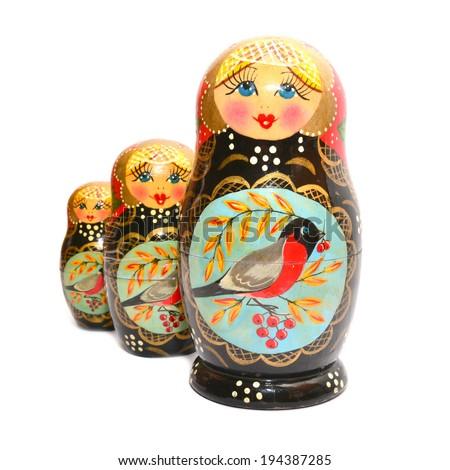 matrioska, russian traditional wooden dolls   - stock photo