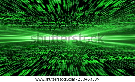 matrix 3d - flying through energized cyberspace, light on the horizon, 4k background - stock photo