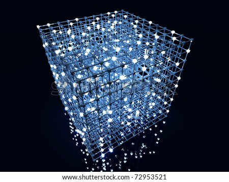 Matrix. 3D rendered Illustration. A glowing grid. - stock photo
