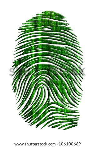 Matrix like finger print with streaming binary - stock photo