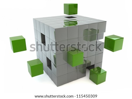 Matrix of green and silver cubes - stock photo