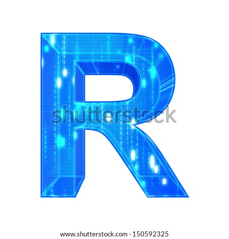 Matrix style alphabet. With clipping path. Letter R