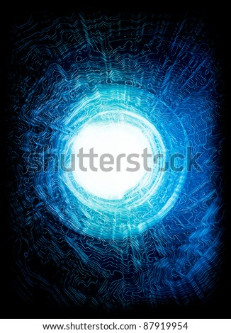 Matrix style energy explosion. It may symbolise also: atoms collision, big bang, cosmic hypersphere movement, digital interferences or even vision of way after death - stock photo