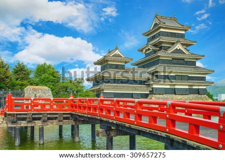 Matsumoto castle against blue sky in Nagono city, Japan - stock photo