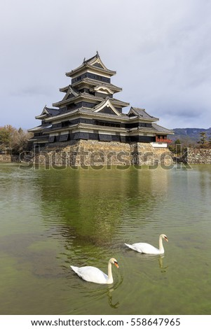 Matsumoto Castle (or Matsumoto-jo) with a pair of swans in its moat, Matsumoto, Nagano prefecture, Japan. It is also known as the Crow Castle (Karasu-jo) due to its black exterior.