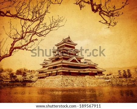 Matsumoto castle with old paper background, Matsumoto, Japan - stock photo