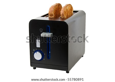 Matt black toaster with two slices of bread, isolated on white background. - stock photo