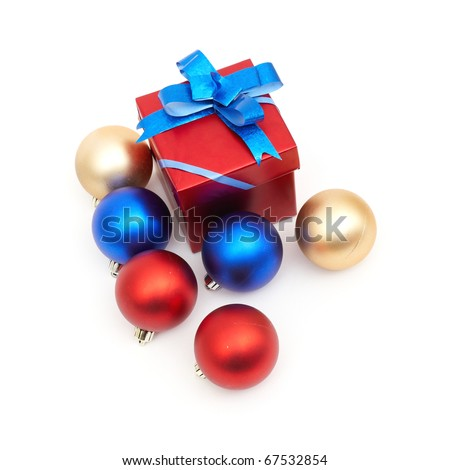 matt christmas balls and red gift box isolated on white background